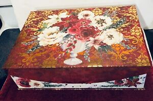 "Punch Studio Nesting Box Gold Foil Christmas Winter Roses Mag. Flip Top 14""x10"""