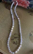 Natural Grade A Jadeite Jade Necklace Light Lavender Freshwater Pearl 925 Silver