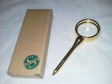 NIB Brass Golf Magnifier Paperweight 2X 1993 Avon Gift For Desk Golf Ball Tee