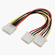 New 20cm 4 PIN IDE Molex Power Supply Y 2 Way Cable Splitter Extension Lead #166