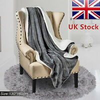 UK New Flannel Throws Sherpa Fleece Blanket Double King Bed Sofa Soft Warm Large