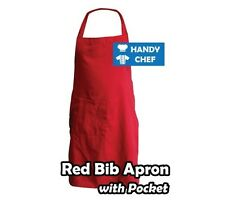 Full Chef Red Bib Aprons with Pocket,..See Handy Chef for Chef Jackets,Pants....