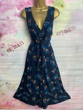 MONSOON LONG LENGTH BLUE STRETCHY FLORAL MIDI DRESS SIZE 16