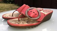 Fly London Red Leather Flip Flop Style Sandals / Wedges - Eu 37 / UK 4