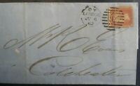 1862 QV 1d Red Star Duplex Circular Numeral London 92 to Colchester Rear