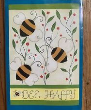 """BEE HAPPY Garden Flag 12.5"""" x 18"""" NWT Bumble Bees Flowers Spring-time Summer"""