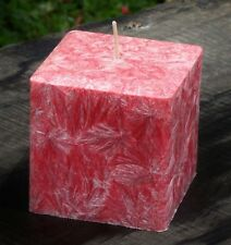 200hr SAFFRON & BOYSENBERRY Triple Scented SQUARE CANDLE Stylish Bevelled Edges