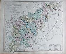1845  LARGE ANTIQUE COUNTY MAP - RAILWAYS, NORTHAMPTONSHIRE DAVENTRY THRAPSTON