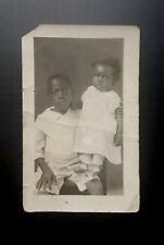 Antique African American Brother Little Sister Precious RPPC Black Americana
