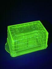 Uranium Glass Butter Dish W/Bottom Tray