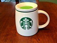 Starbucks 2011 White Ceramic Coffee Travel Mug / Ceramic Green Silicon Lid