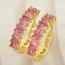 Very Pretty New 9k Yellow Gold Filled 5 Stone Ruby Red CZ Hoop Earrings