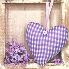4 Solo Papel Decoupage Servilletas. corazón púrpura, románticos, dulces Diseño - 333
