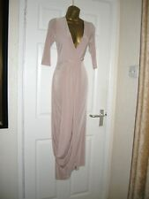 8 ASOS CLUB L NUDE MAXI DRESS PLUNGE FRONT SLINKY LOOP DRAPE WEDDING PARTY HOLS