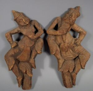 Pair Burma Burmese Mandalay Carved Wood Dancing Figures ca. 18-19th Century