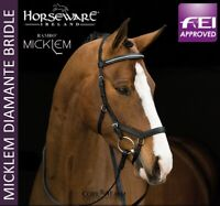 Horseware Rambo MICKLEM DIAMANTE Competition Bridle FEI Approved Black All Sizes