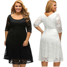 Black Floral Lace Sleeved Fit And Flare Curvy Dress Little Women Plus Club Sexy