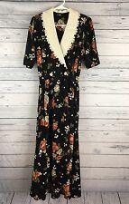 Vintage EXPO Women's Black Maxi Floral Prairie Dress Lace Trim Short Sleeve