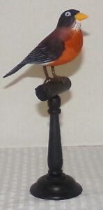 "8 1/2"" Hand Painted Wood Robin on Black Pedestal Perch Figurine"