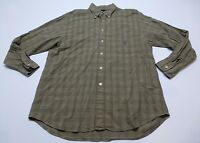Nautica Shirt Mens Size L Brown & Black Wrinkled Style Plaid Great Condition