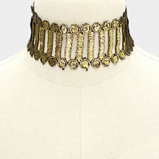 """13"""" gold black reversible embroidered lace choker collar necklace 2"""" wide 011"""