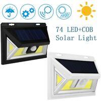 74 COB LED Solar Light Motion Sensor Security Wall Light Outdoor Garden Lamp UK
