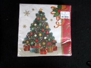 Gilded Tree 8694 Christmas Beverage Napkins 36 Ct Decorated Tree/Gifts