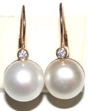 10.5mm White Pearl Beautiful Fine Earrings Vintage Fine 9K Gold .10Ct Diamond