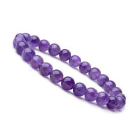 Natural 8mm Gorgeous Amethyst Healing Crystal Stretch Beaded Bracelet Unisex