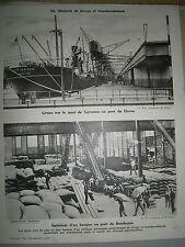 gravure France Port du Havre et de Bordeaux matériel de transbordement grues