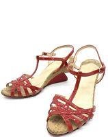 Christian Louboutin Red Patent Leather Cork Wedge Sandals Shoes Heels 39.5 9US