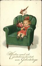 Foreign Greeting - Little Girl in Big Arm Chair - Kitten Kitty Cat Postcard