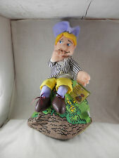 Vintage Topsy Turvy Farmer & Dog Plush Where oh Where has my little dog gone 16""