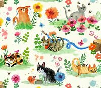Catitude Cat Spring Garden Cotton Fabric Orange Chonky Stripy Gromps Miriam Bos