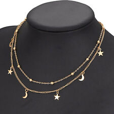 Charms Multilayer Necklace Gold Moon Stars Hippy Boho Thin Short Chain Pendant