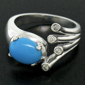 14K White Gold 1.23ctw Fine Oval Cabochon Turquoise & Diamond Cocktail Ring Sz 6