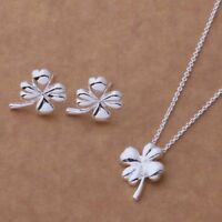 Four Leaf Clover Pendant Necklace and Earrings Set 925 Sterling Silver NEW
