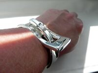 ✨PHENOMENAL✨ 67g sterling silver 925 fully HM CHUNKY belt buckle cuff bracelet