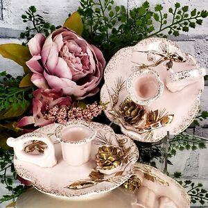 Vintage PAIR Pink Gold China Candlestick Holders Pinecones Holiday JAPAN Elegant