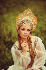 WOMAN RUSSIAN BEAUTY in Ethnic Traditional Costume Field Nature MODERN POSTCARD