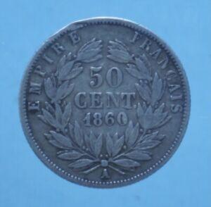 FRANCIA NAPOLEONE III 50 CENTIMES 1860 MONETE DA COLLEZIONE ARGENTO SILVER COIN