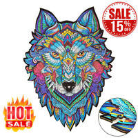 Wooden Jigsaw Puzzle Wolf Unique Shape Education Puzzles Gift Adults Kids Toys