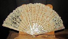 antique french lace fan with mother of pearl sticks & carved ribs