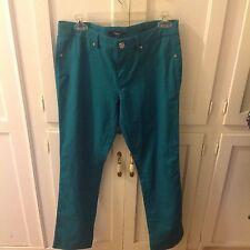 Tahari women's teal green straight leg slacks size 0