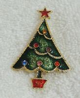 Vintage Beatrix Christmas Tree Pin Brooch Rhinestones