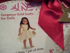 American Girl Gorgeous Gold Outfit with Dress, Shoes, Purse in Gift Box