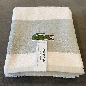 "Lacoste Bath Towel 30"" x 52"" Match Cotton Colorblocked White Gray Pool Beach New"