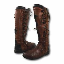 Vintage Handmade Brown Buffalo Leather Star Stitched Renaissance Moccasin Boots