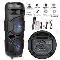 """Portable Party Dual 6.5"""" Speaker Bluetooth Loud Bass Sound Rechargeable Remote"""