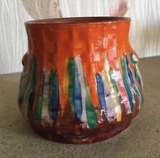 WADEHEATH VASE ART DECO HAND PAINTED DRIP PATTERN 3446 1940's  SMALL DUMPY  VGC